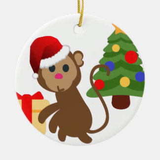 santa claus monkey emoji ceramic ornament