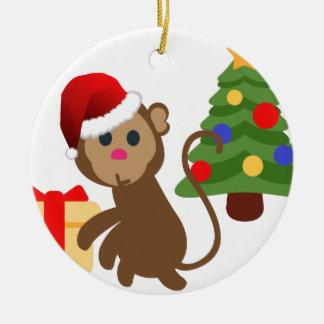 santa claus monkey emoji round ceramic decoration