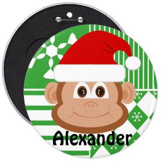 Santa Claus Monkey Personalized Stocking Button
