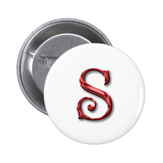 Santa Claus Monogram Letter S Holidays Christmas 6 Cm Round Badge