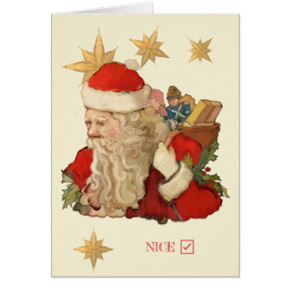 Santa Claus Nice List Humor Personalize Christmas Card