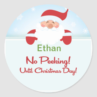 Santa Claus No Peeking Until Christmas Sticker