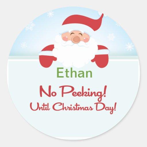Santa Claus No Peeking Until Christmas Sticker