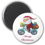 Santa Claus on Bicycle Refrigerator Magnet