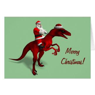 Santa Claus On Dino Card