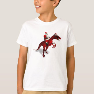 Santa Claus On Dinosaur T-Shirt