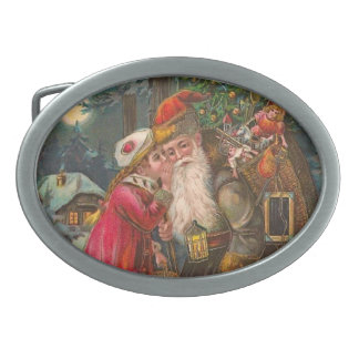 Santa Claus On His Way 1 Oval Belt Buckle
