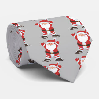 Santa Claus on Ice Skates Christmas Holiday Tie