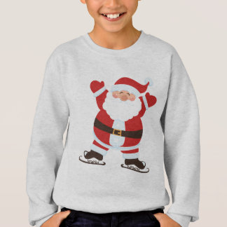 Santa Claus on Ice Skates Cute Cartoon Sweatshirt