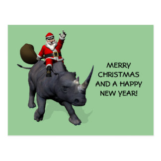 Santa Claus On Rhino Rhinoceros Postcard