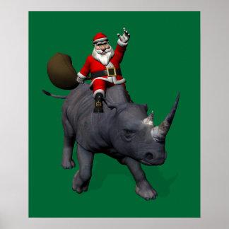 Santa Claus On Rhino Rhinoceros Poster