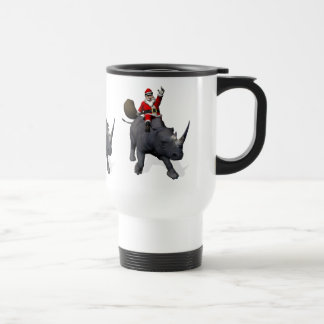 Santa Claus On Rhino Rhinoceros Travel Mug