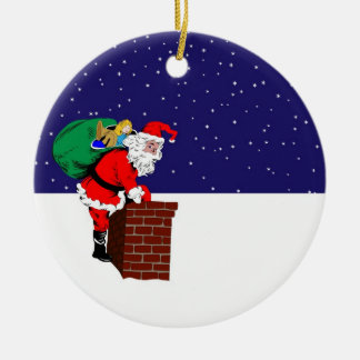 Santa Claus on Roof Ornament