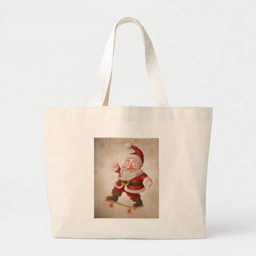 Santa Claus on skateboard Canvas Bags