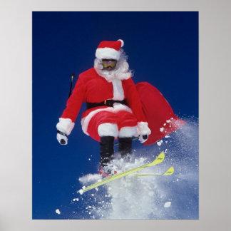 Santa Claus on skis jumping off a cornice at Poster