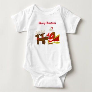 santa claus on the christmas sleigh baby bodysuit