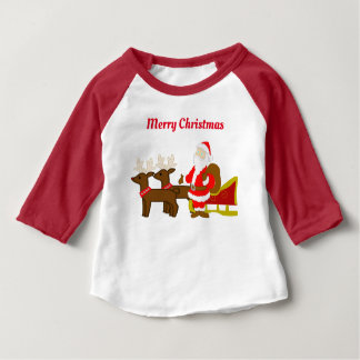 santa claus on the christmas sleigh baby T-Shirt