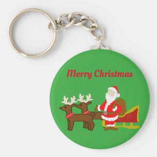 santa claus on the christmas sleigh key ring