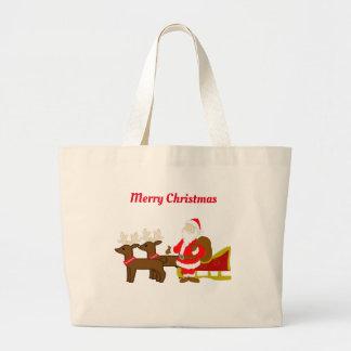 santa claus on the christmas sleigh large tote bag