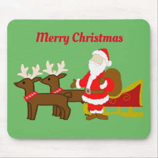 santa claus on the christmas sleigh mouse pad