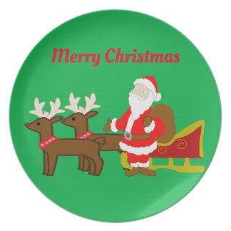 santa claus on the christmas sleigh plate