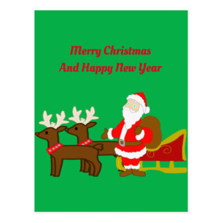 santa claus on the christmas sleigh postcard