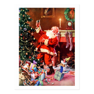 Santa Claus On the Night Before Christmas Postcard