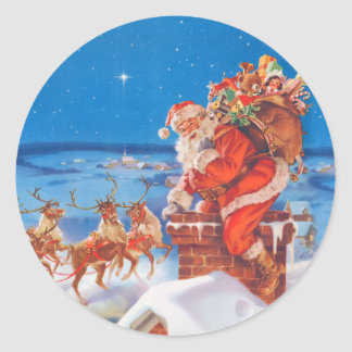 Santa Claus On the Night Before Christmas Round Sticker