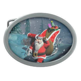 Santa Claus Oval Belt Buckles