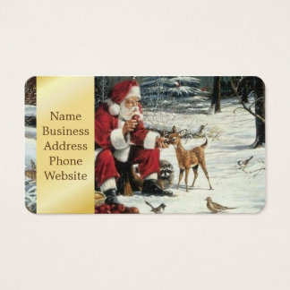 Santa claus painting - christmas art business card