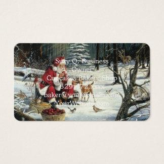 Santa claus painting - christmas art business card