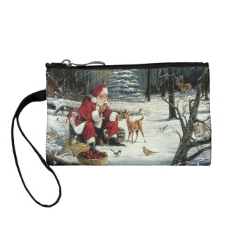 Santa claus painting - christmas art coin purse