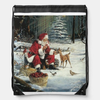 Santa claus painting - christmas art drawstring bag