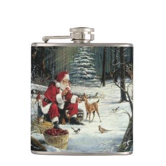 Santa claus painting - christmas art hip flask