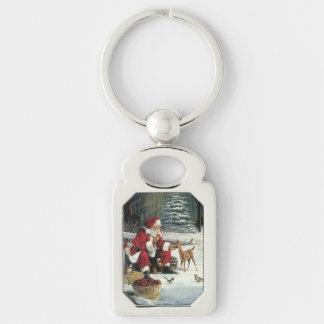 Santa claus painting - christmas art key ring