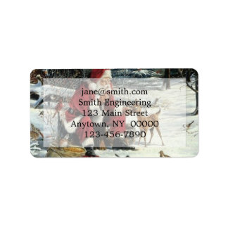 Santa claus painting - christmas art label