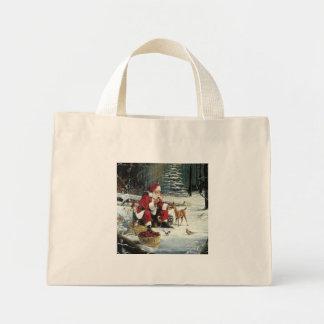 Santa claus painting - christmas art mini tote bag