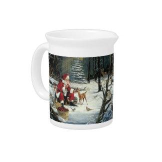 Santa claus painting - christmas art pitcher
