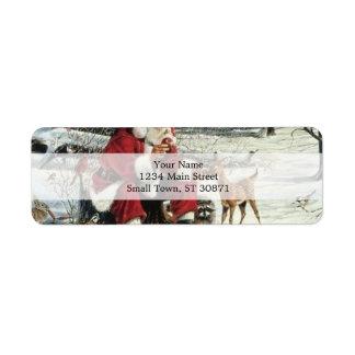 Santa claus painting - christmas art return address label