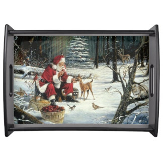 Santa claus painting - christmas art serving tray