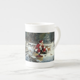 Santa claus painting - christmas art tea cup