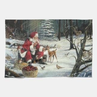 Santa claus painting - christmas art tea towel