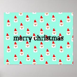 santa claus pattern mid century christmas poster