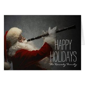 Santa Claus Playing Clarinet Greeting Card