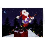 Santa Claus Playing Electric Guitar Greeting Cards