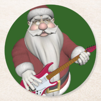 Santa Claus Playing Electric Guitar Round Paper Coaster
