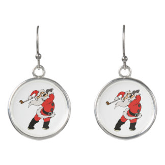 Santa Claus playing golf Earrings