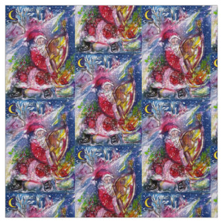 SANTA CLAUS PLAYING HARP IN MOON LIGHT Christmas Fabric