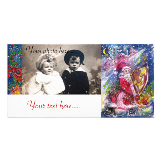 SANTA CLAUS PLAYING HARP IN THE MOONLIGHT PHOTO GREETING CARD