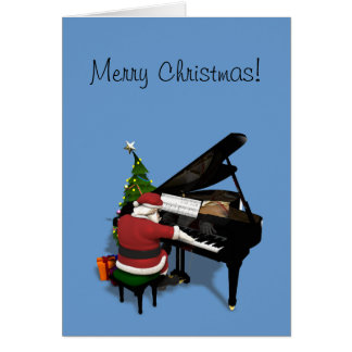 Santa Claus Playing Piano Card